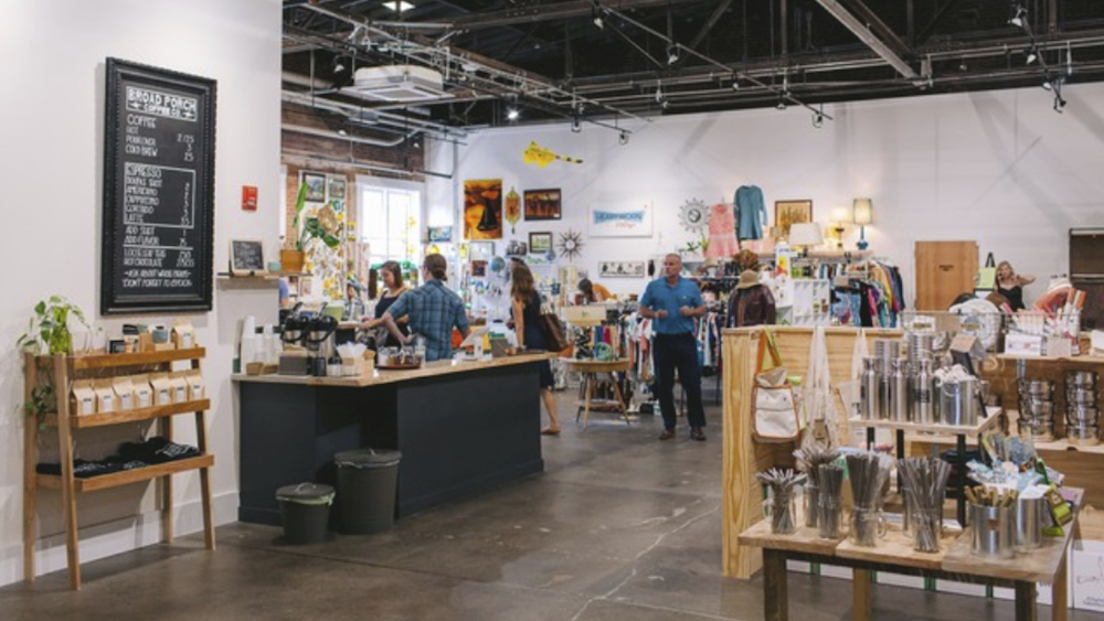 An indoor open air market in downtown Harrisonburg close to our B&B