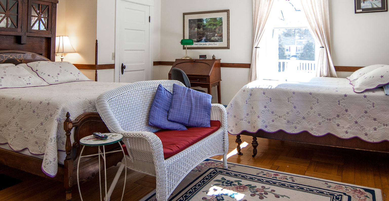 Two comfortable beds in the Bluestone Room in our B&B near JMU.